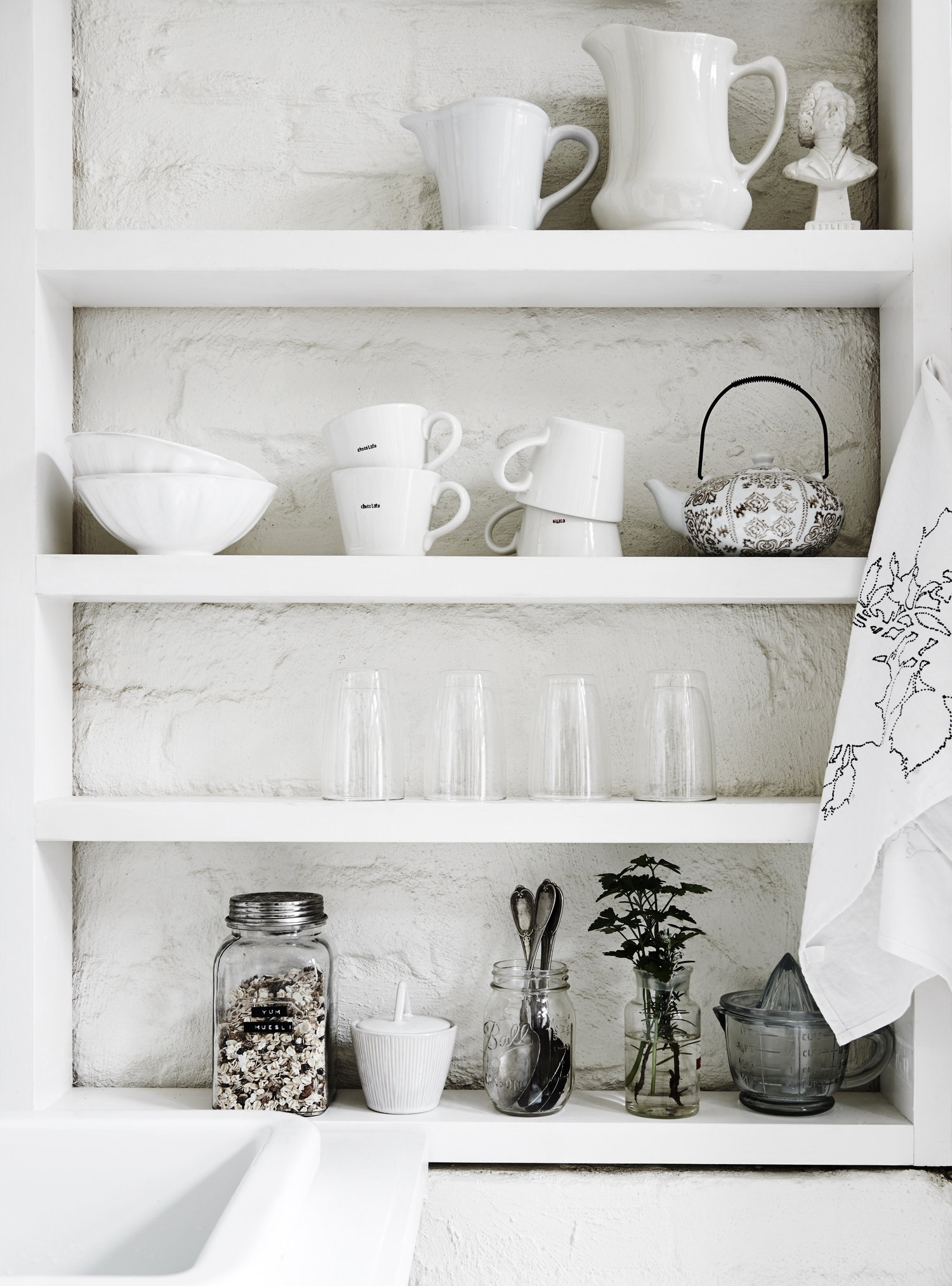 A bright and clean white corner in  The White Room . Photo Lisa Cohen.