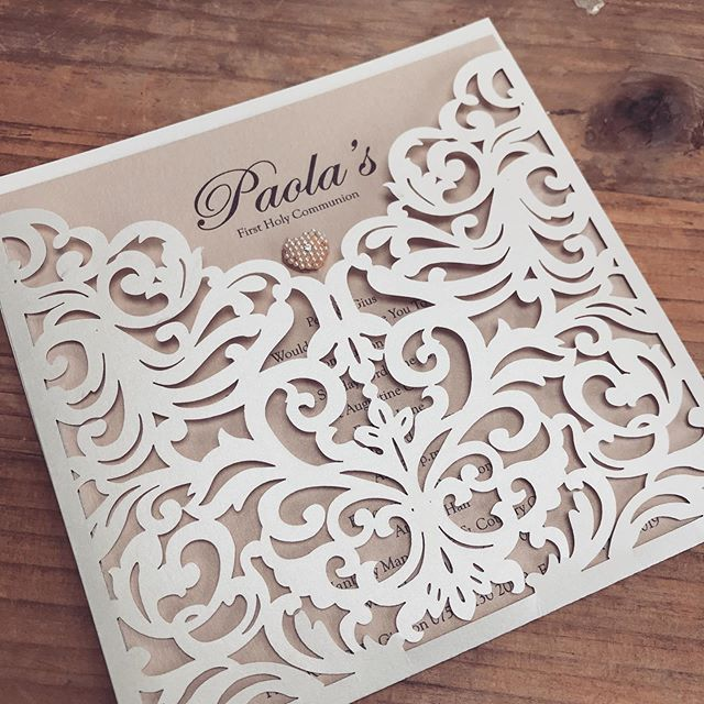 We love the mix of the nude and lace with a touch of pearl which was used to make this elegant invitation... All of our invitations can be made in a wide range of colours and styles.  Contact info@Rubello.co.uk for details