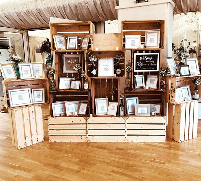 We love this idea of using wooden crates to form part of a large scale wedding table plan. Why not make a feature of your wedding table plan, use it to style an area of your venue, this idea is just perfect for a rustic woodland wedding.