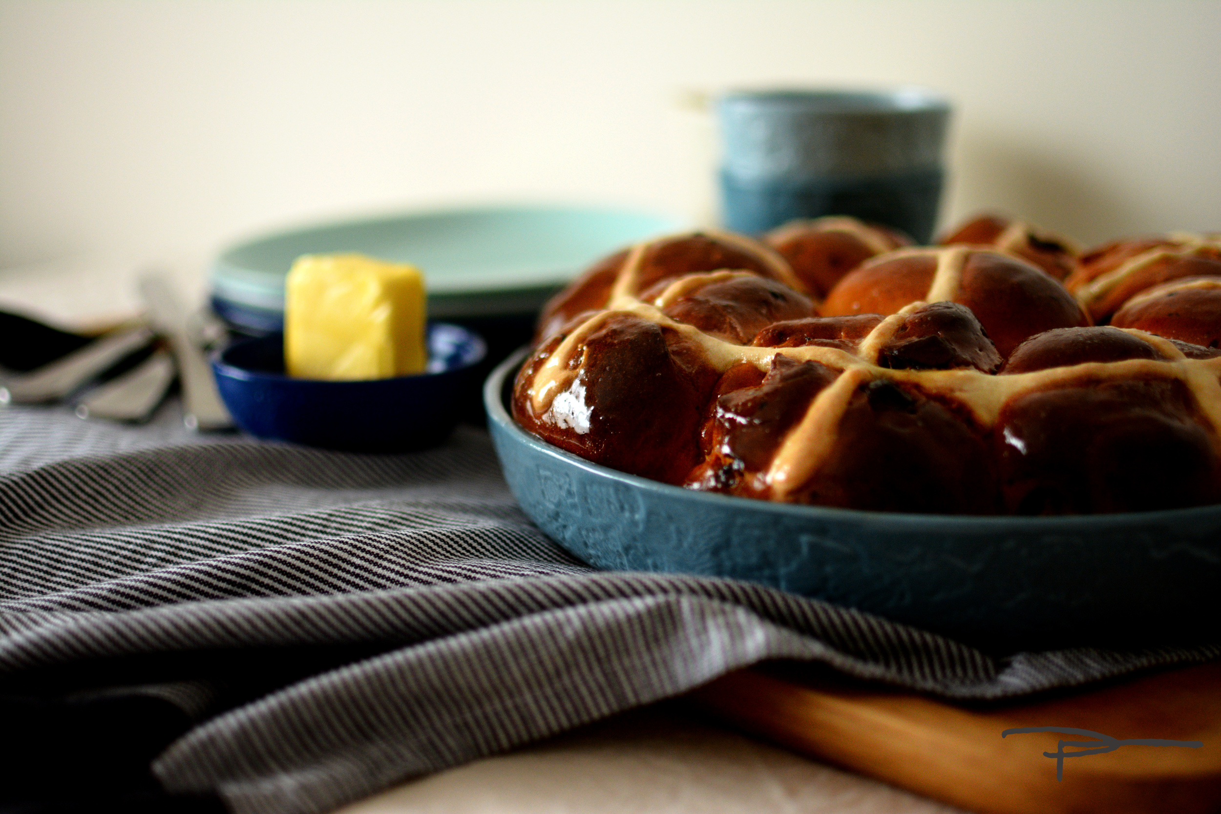 Dark Chocolate Hot Cross buns baked in a Plattertastic