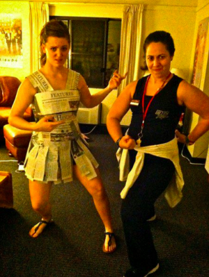 Halloween, senior year, when my dear friend Tash dressed up as me...aka Plex Girl... She pretty much nailed it. (I was obviously our student newspaper,  The Heights,  and yes there were shorts under that newspaper dress)..