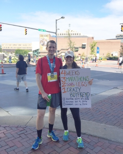 Here we are at the Akron finish! --- Please note the Lebron banner behind Alex's head.