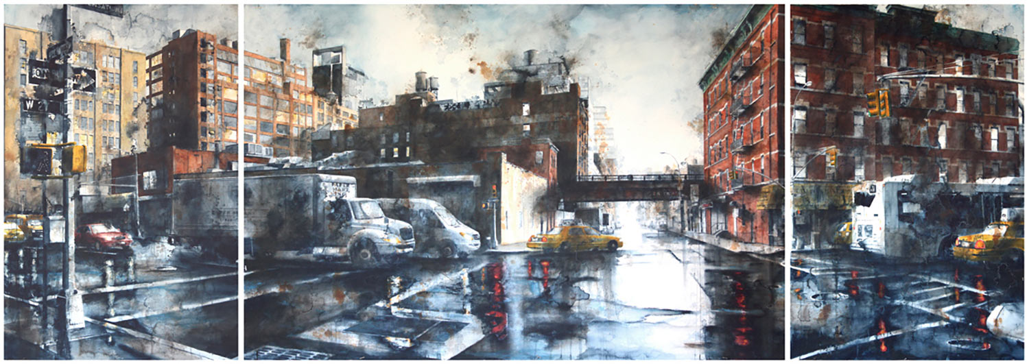 West 27th Street and 10th Ave, rain (Triptych)
