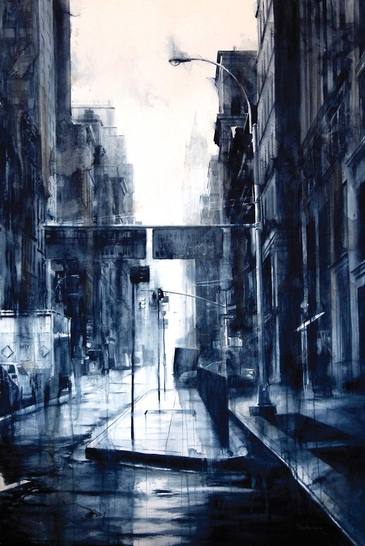 Lower Broadway, rain