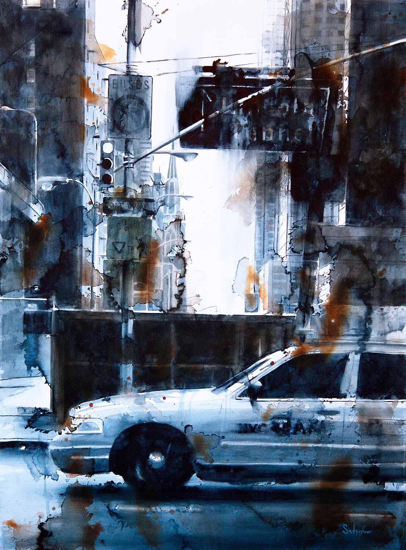 Lincoln Tunnel & 9th Ave, rain (Blue Taxi)