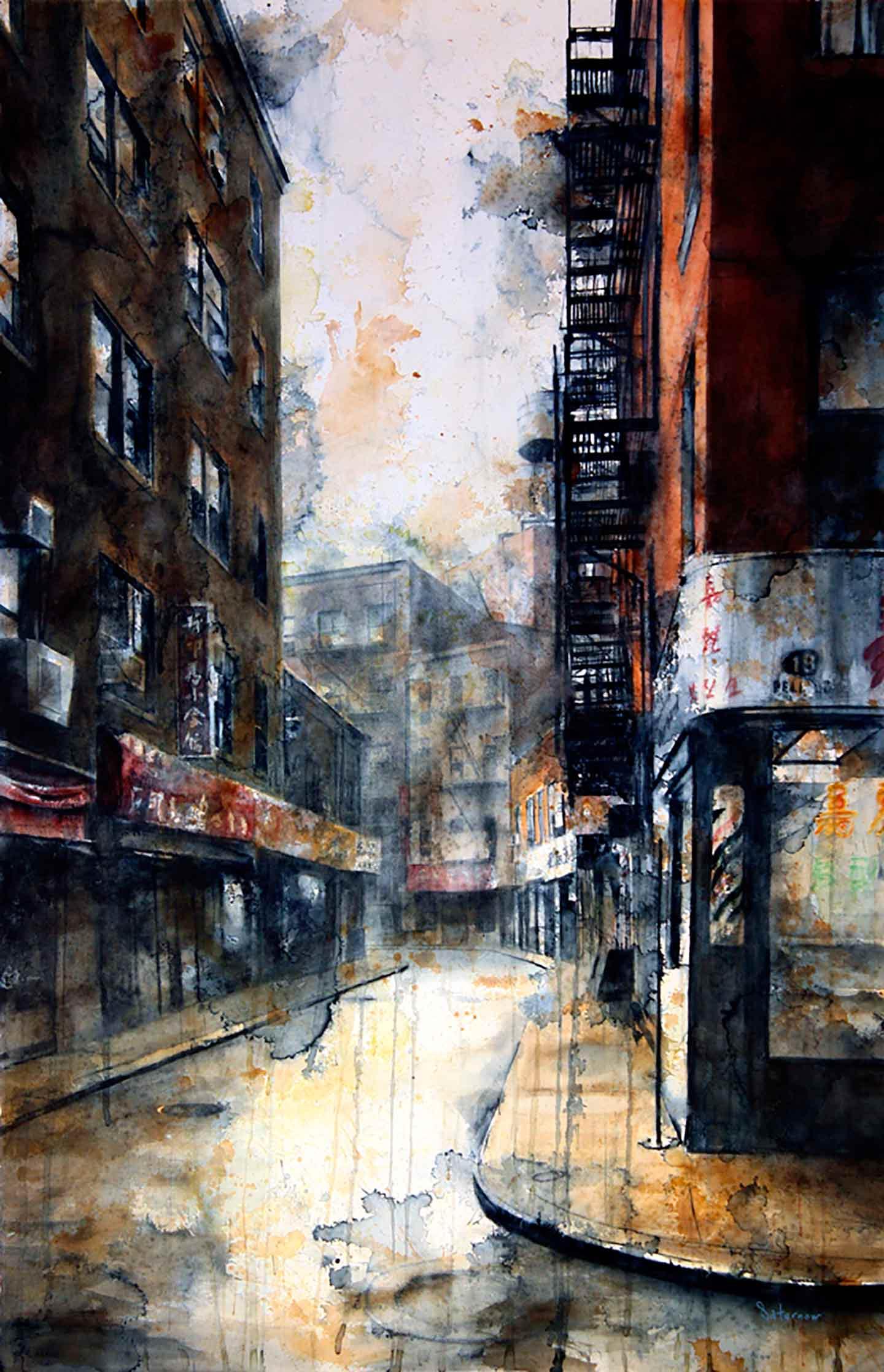 Doyers Street at Pell, rain