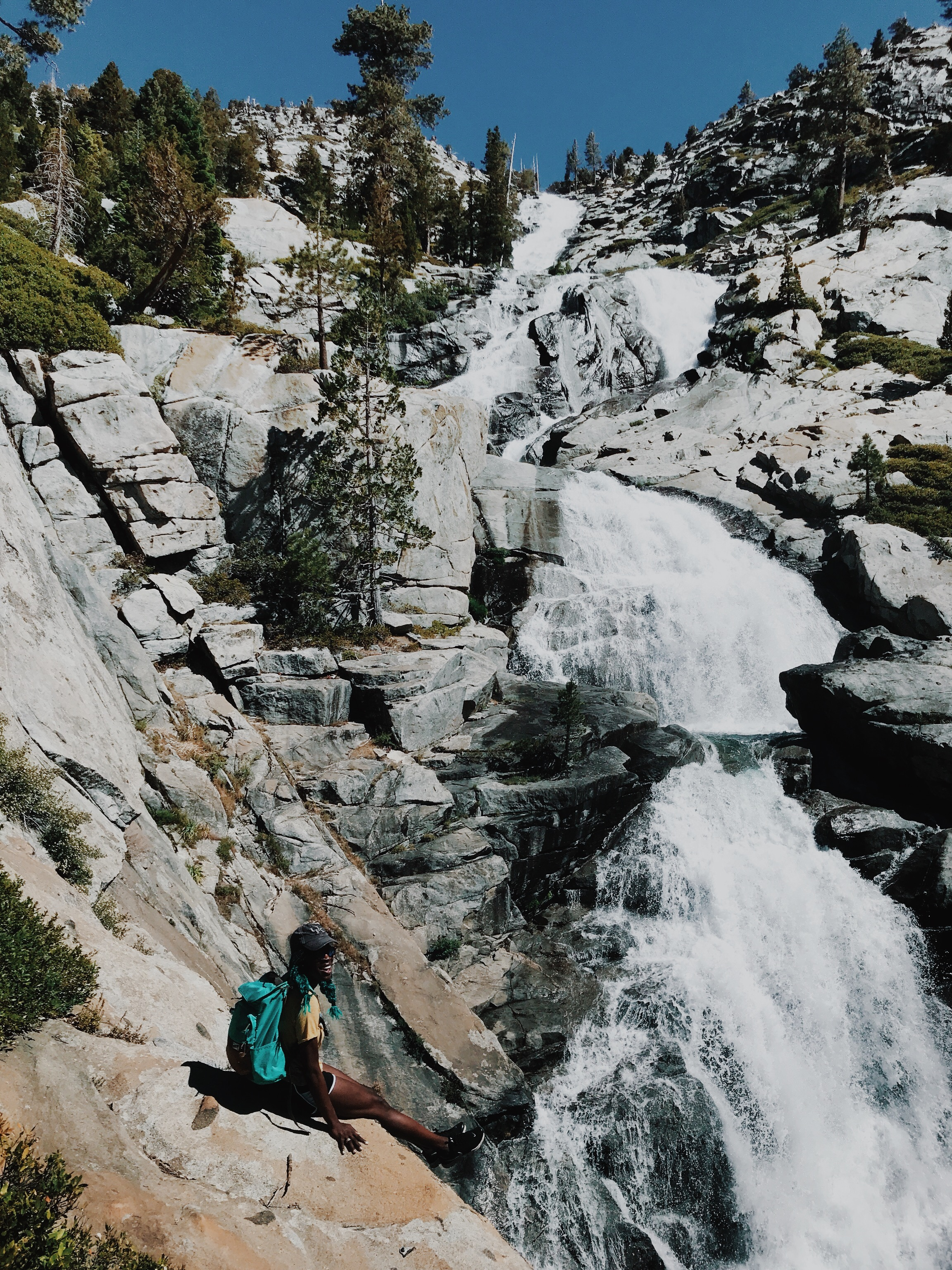 this waterfall hike had us scrambling over rocks & losing the trail repeatedly, but it was so great!