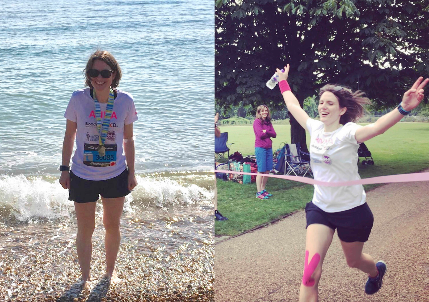 Anna after the Brighton Marathon in April 2017 (LEFT) and finishing her marathon relay in May 2017 (RIGHT)