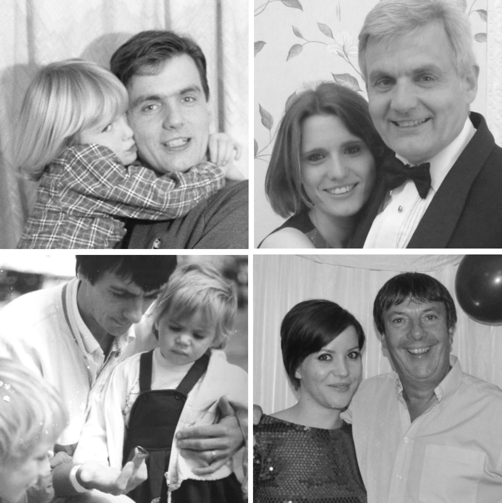 Anna and Emily with their fathers, then and now