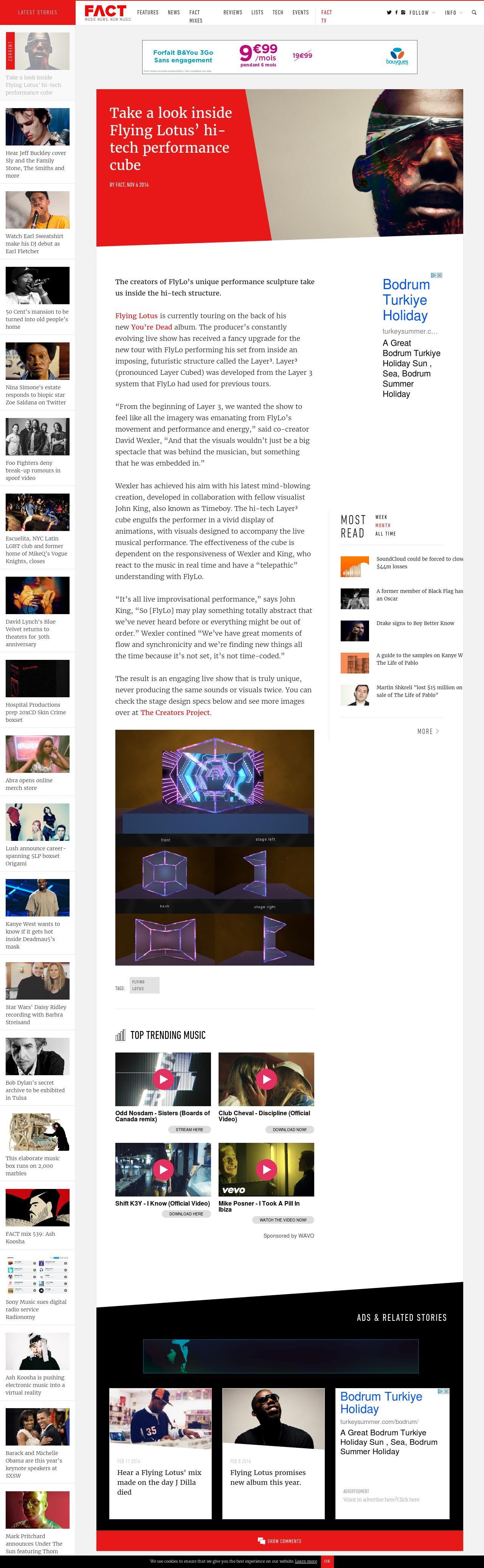 Take a look inside Flying Lotus' hi-tech performance cube