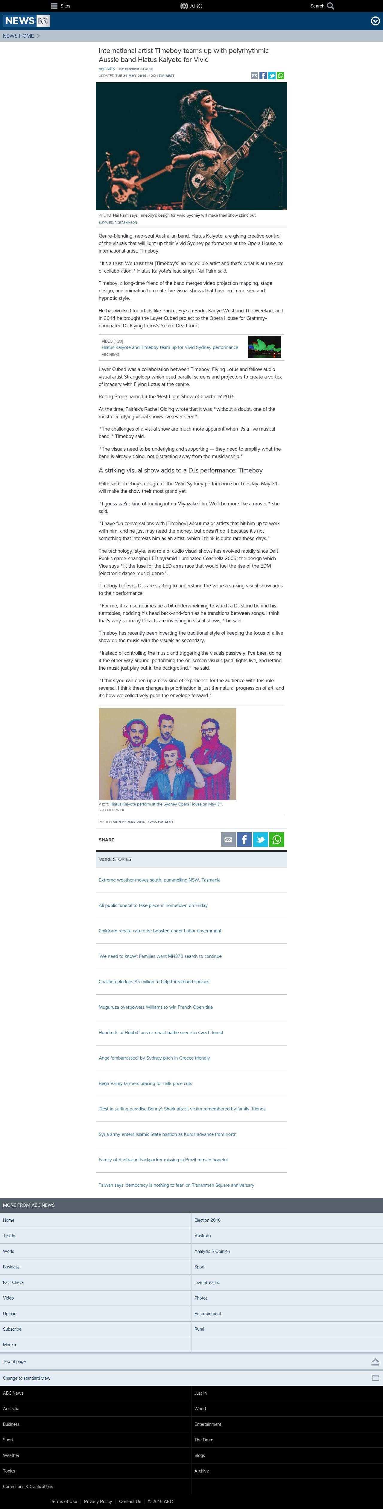 International artist Timeboy teams up with polyrhythmic Aussie band Hiatus Kaiyote for Vivid