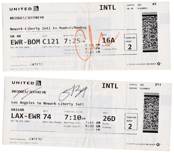 My tickets from Los Angeles to Newark and from Newark to Mumbai.