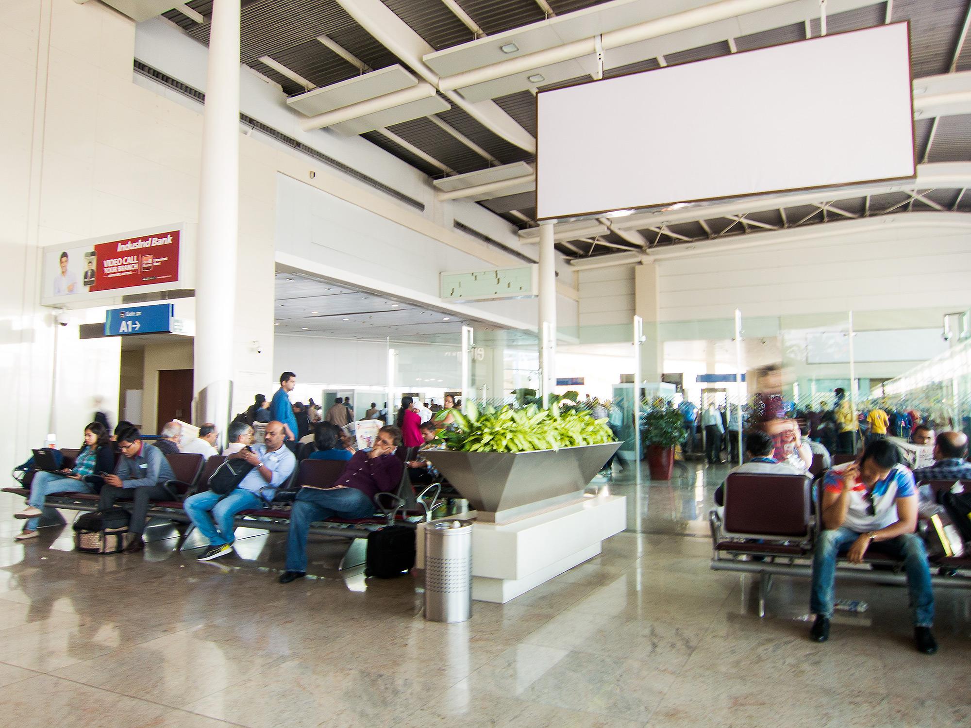 Waiting for the flight at the Mumbai National Airport.