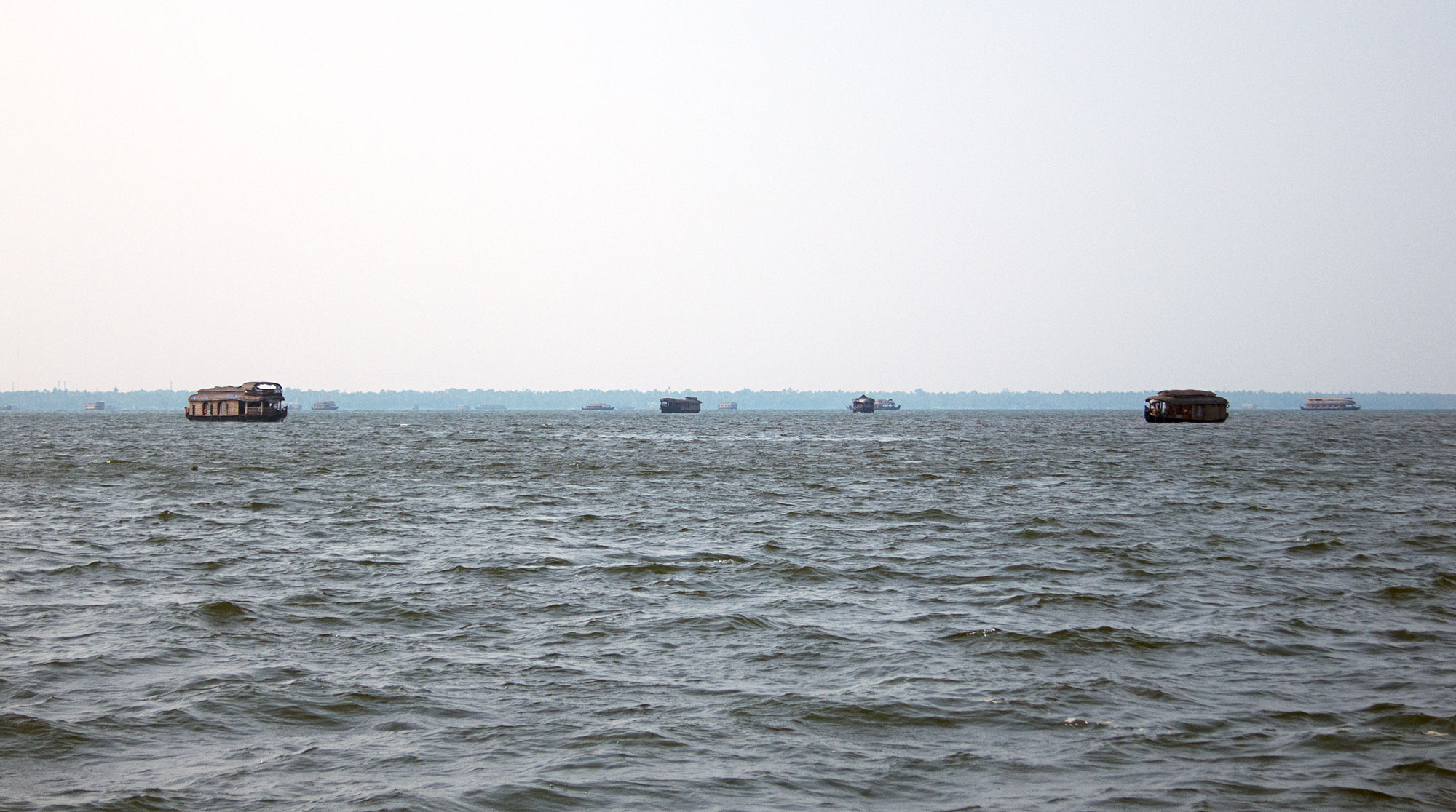 Other houseboats in the distance at the widest part of the backwater.