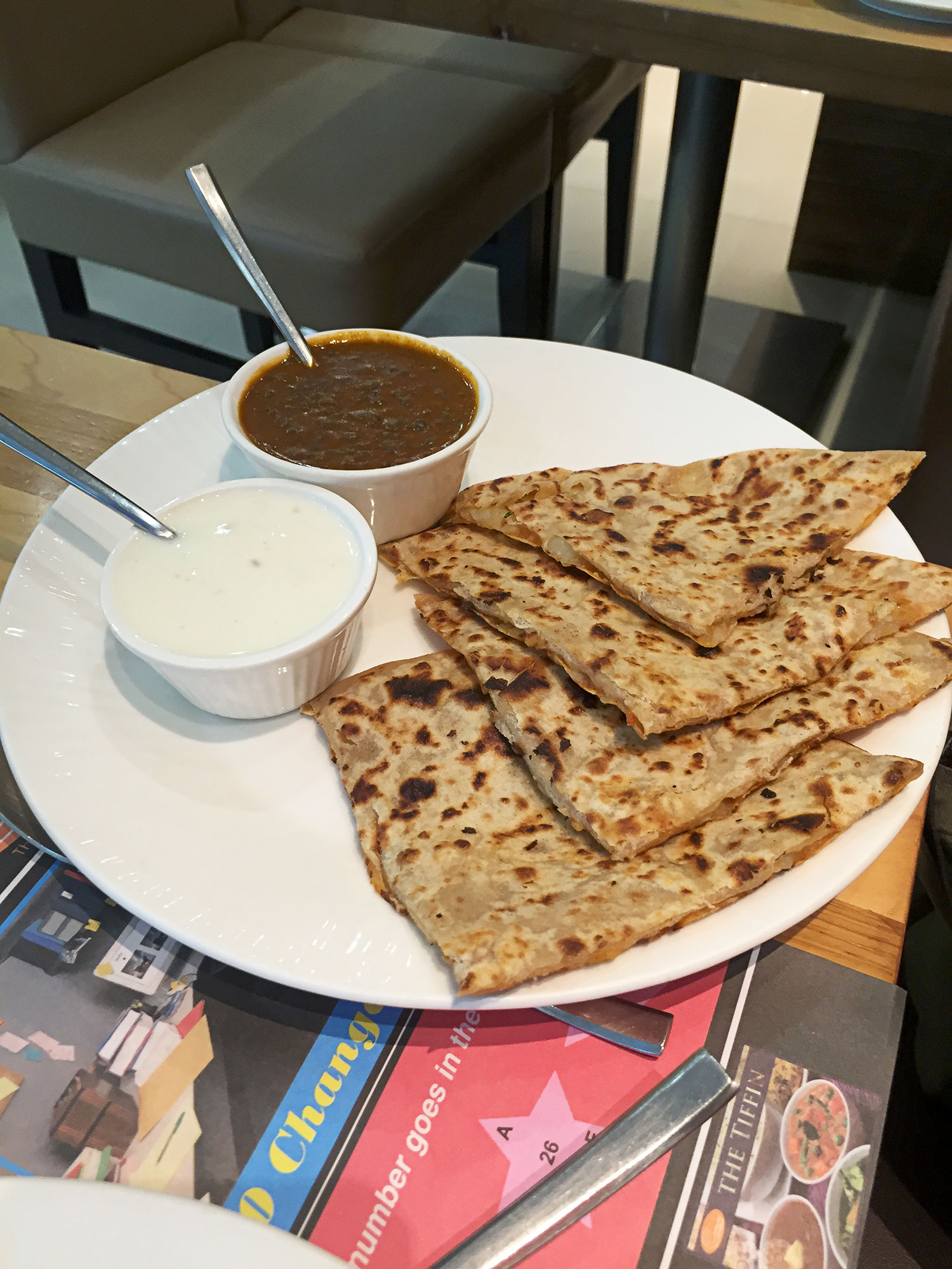 Stuffed paratha.  I think it was stuffed with paneer.