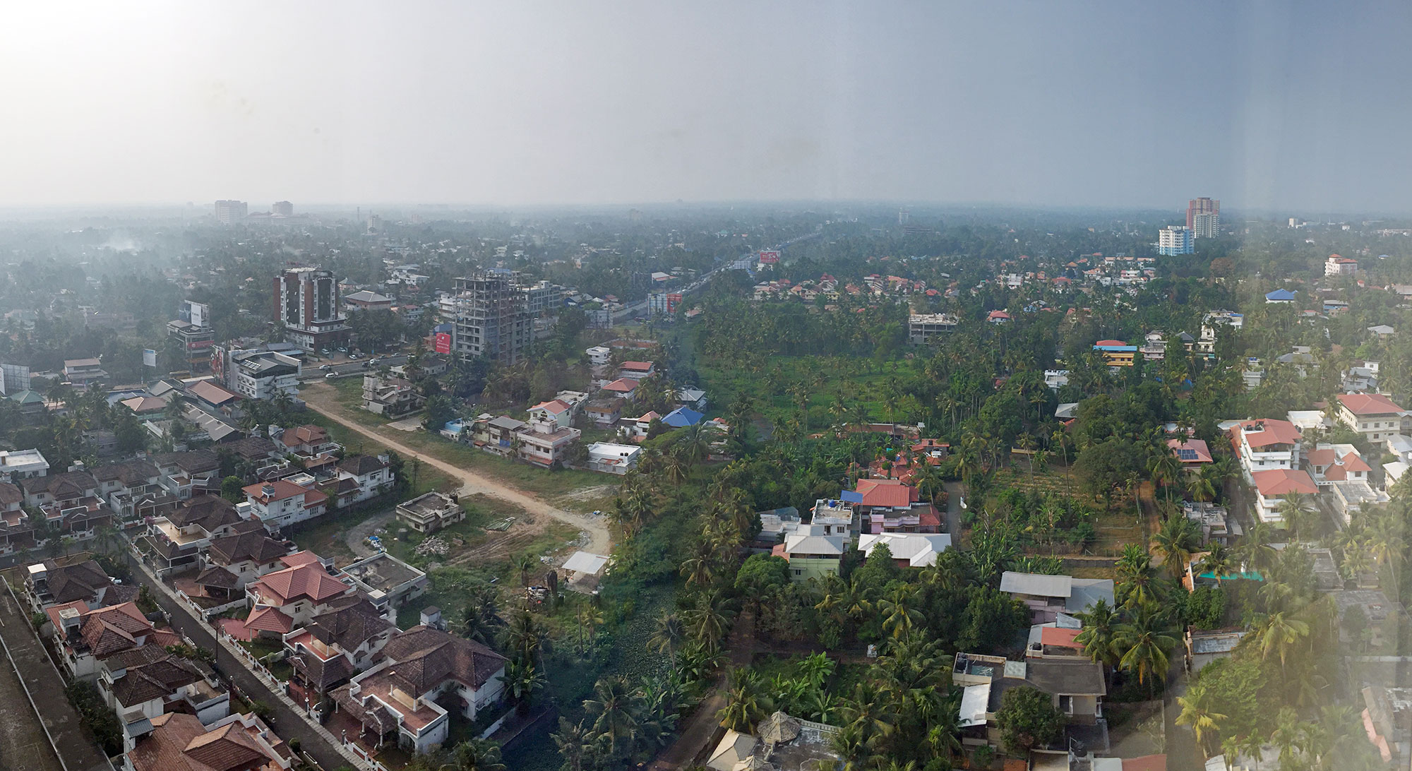 Looking out of the window down on Kochi from the Marriott.