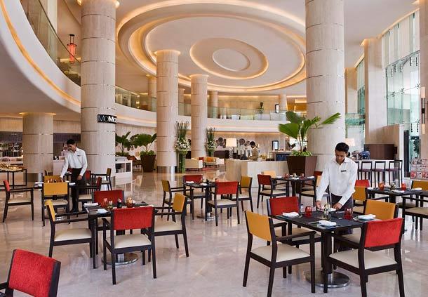 The JW Marriott Sahar breakfast buffet dining room.