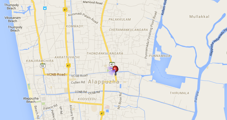Location of the Mullakkal Temple in Alleppey.