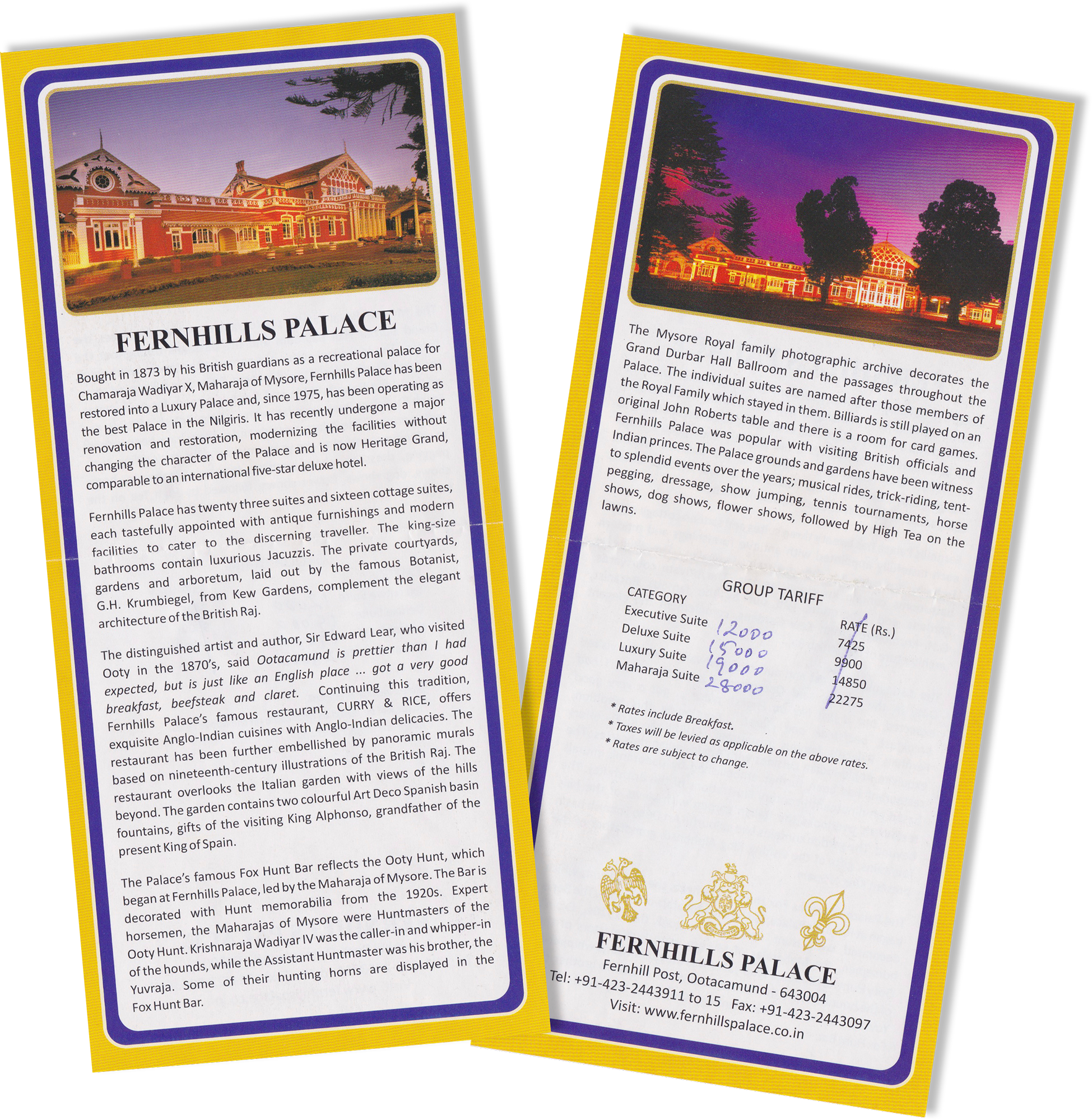 Pamphlet from Fernhills Palace showing a little history and room prices on the back.