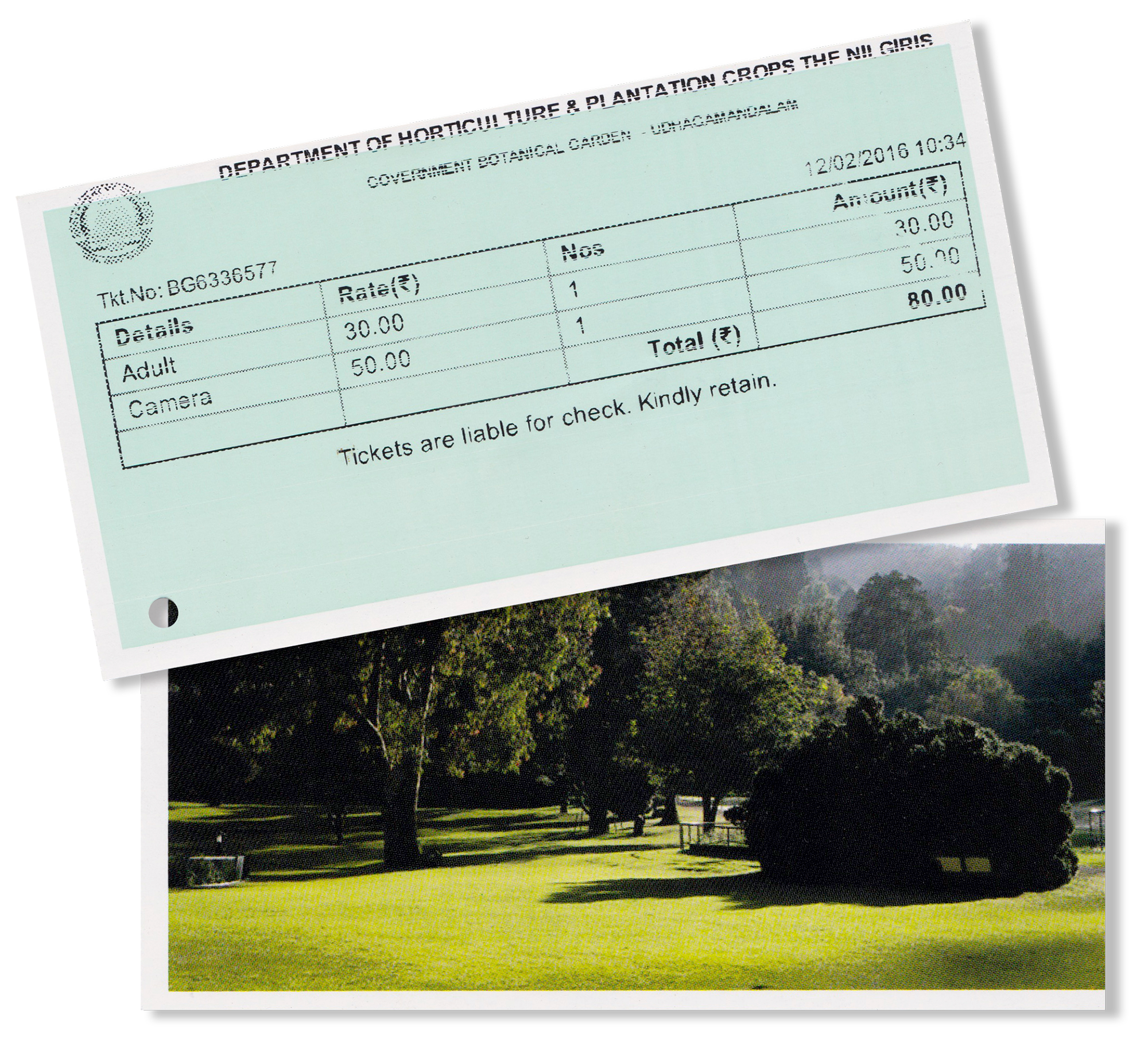 Front and back of my ticket to the Ooty Botanical Gardens.