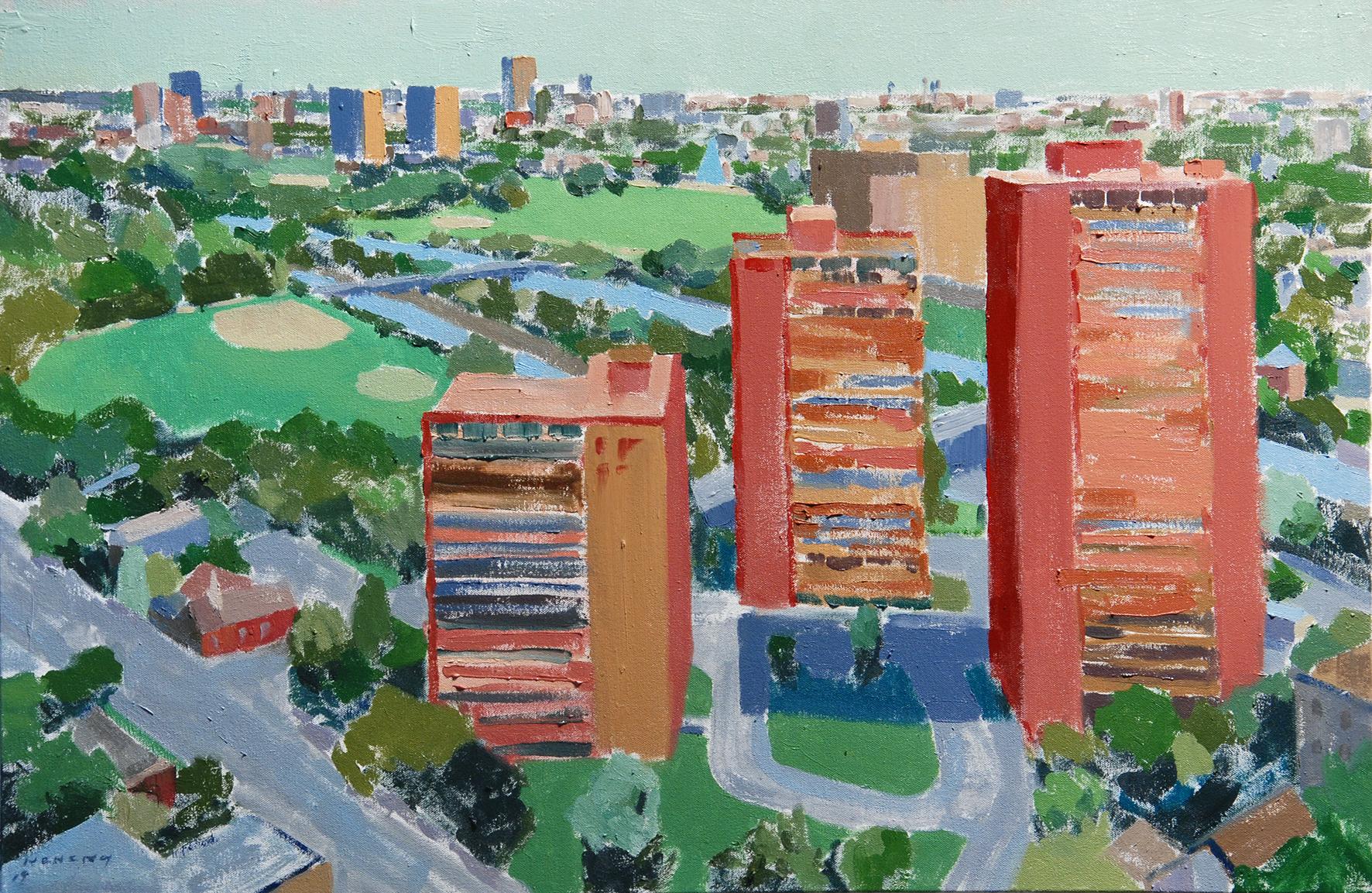 """""""Regent Park Riverdale"""", 2019. 36 x 24 inches. Oil on canvas."""