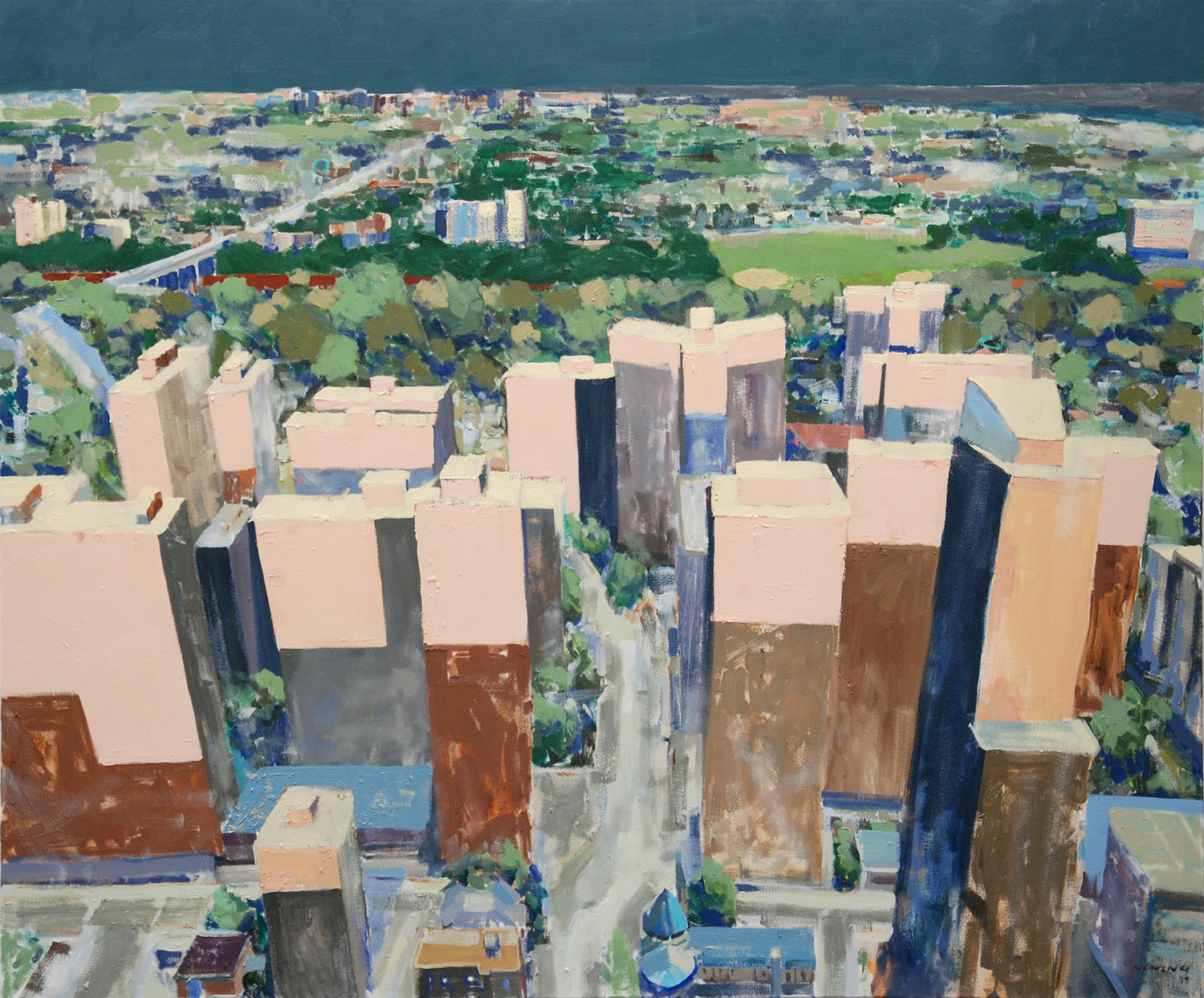 """""""The Sun Sets Over St. James Town"""", 2019. 72 x 60 inches. Oil on canvas."""