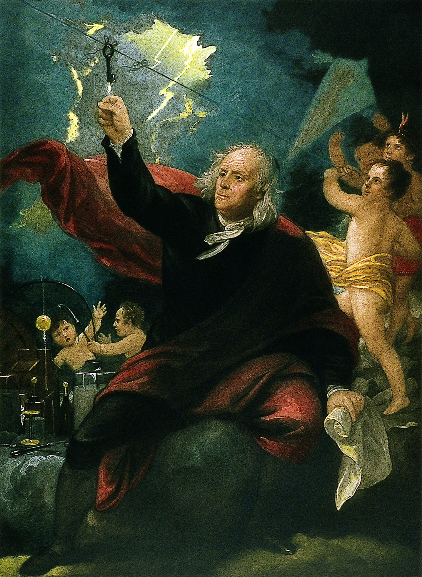 """Benjamin Franklin Drawing Electricity from the Sky"" by Benjamin West"