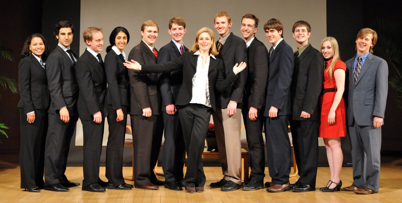 Lisa Randall with the Legacy Winners from 2008 and 2009, as well as several Junto members