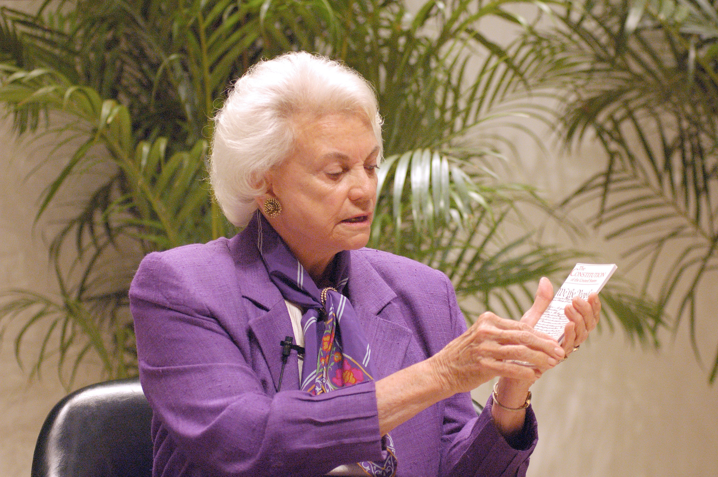 Sandra Day O'Connor with her copy of the Constitution
