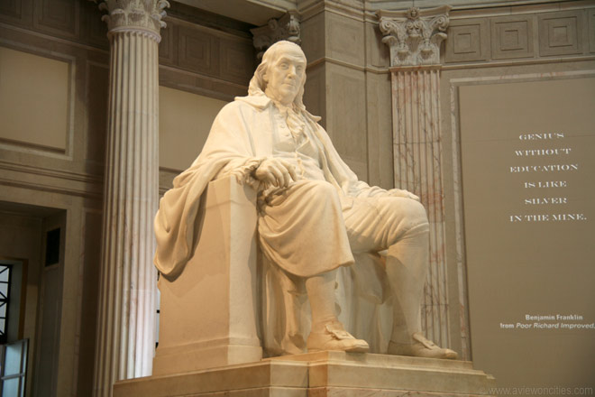 A statue of Ben Franklin at the Franklin Institute in Philadelphia, PA