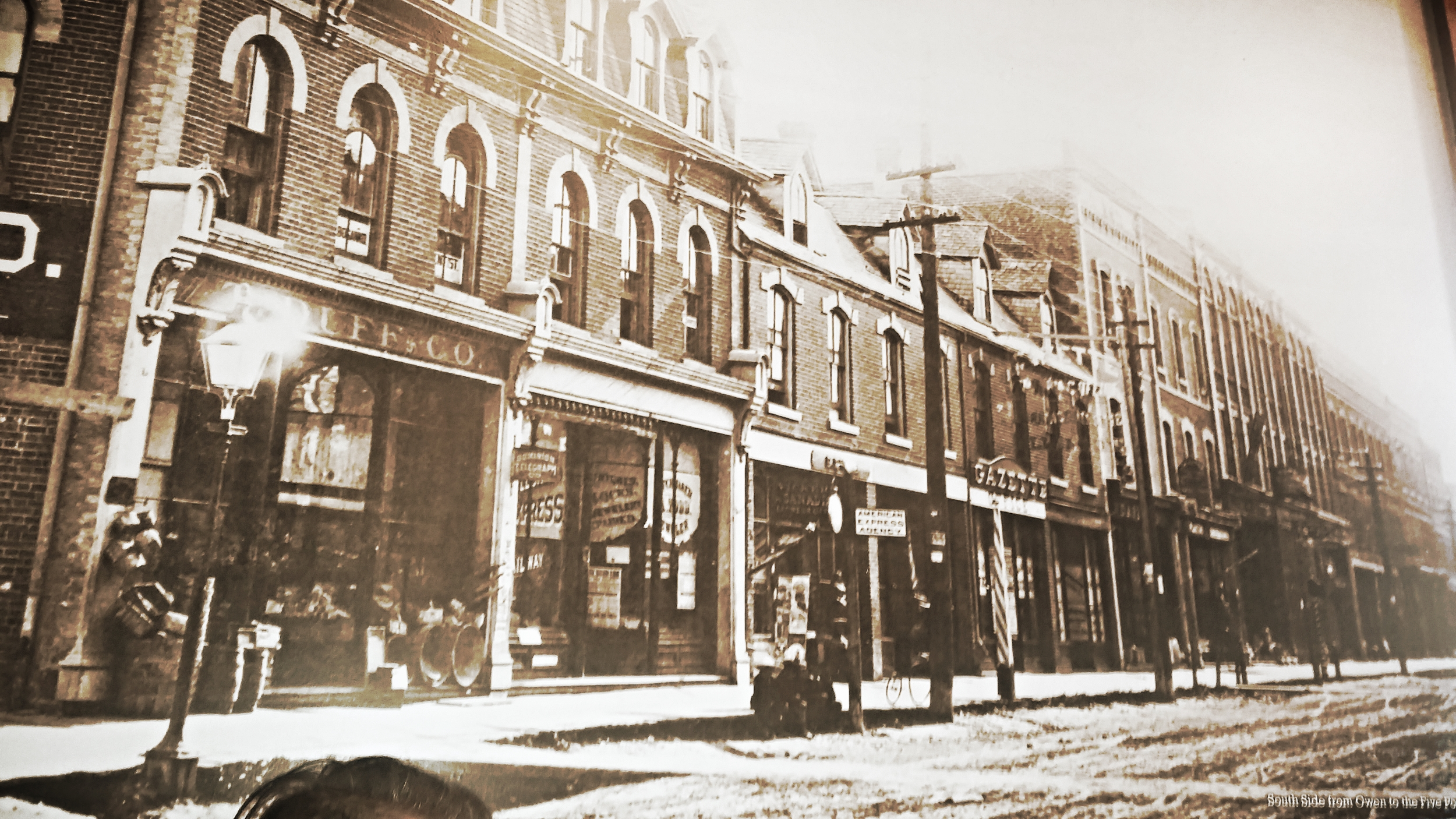 Barrie circa 1885. South side from Owen to Five Points