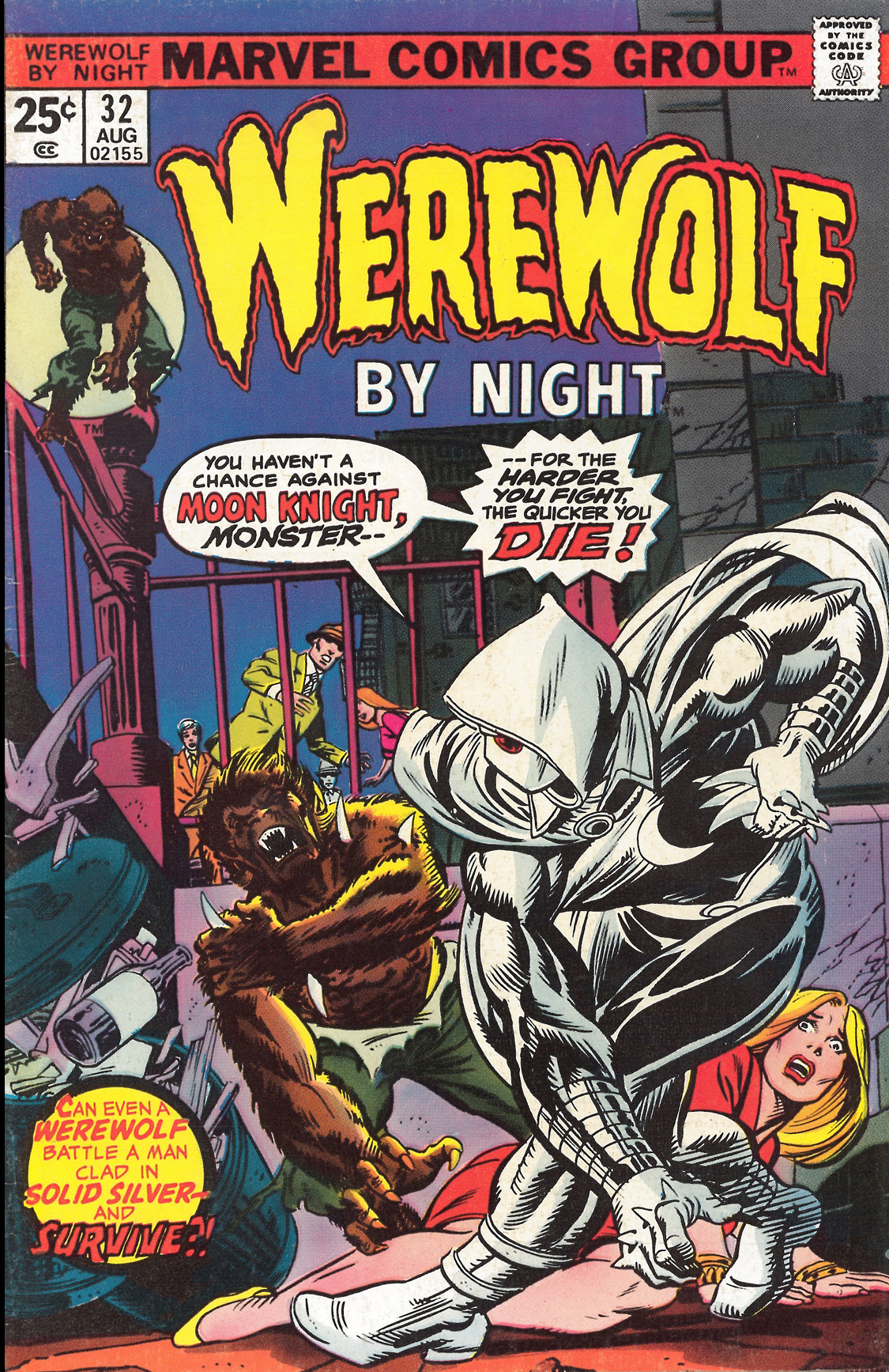 Don Perlin, the creator of Moon Knight, is gonna punch you in the nose if you don't buy his book! - Don Perlin and Doug Moench created Moon Knight. The character first appeared first appeared in Werewolf by Night #32 (August 1975)