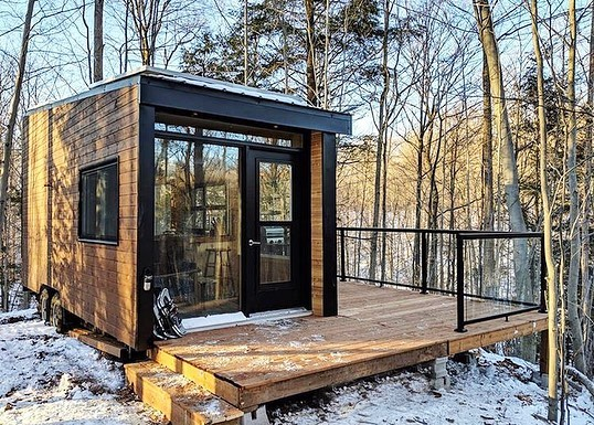 The Dashi Cabin 2 hours 38 minutes  Photos via @cabinscape  Escape Toronto fave Cabinscape is going southwest with its latest lil addition: the Dashi cabin, named by their three-year-old and tucked away in the hardwood forest near @bayfieldontario. Perched atop 75 acres of 🌲🌲🌲, Dashi has plenty of right-out-your-door trails to explore and is a five-minute drive from the @natgeo-recognized Lake Huron sunsets. Only some weeknights still available for Feb-March, but put this one on the list for springtime weekend 'speditions! DM for the link to book. #escapetoronto