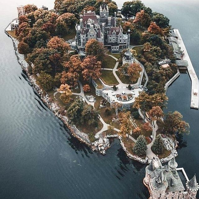 "Boldt Castle, 1000 Islands  3 hours 21 minutes  Photo via @a_dube & @visit1000islands  Legend has it that Boldt Castle in 1000 Islands, NY was a Valentine's Day present from George Boldt, who also owned the Waldorf Astoria in NYC, to his wife Louise (tag the boo that only got you a Rosen's cinnamon bun and a hug to let them KNOW). So the story goes, he envisioned his princess walking down the palace staircase. But Louise's untimely death at just 41 right before the castle's completion shattered that Cinderella story - and old lord Boldtemort never set foot on the island again.* Anyways, happy v-day. #escapetoronto *Predicted 2020 addenda: ""And then Drake bought it."""