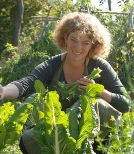 Vicky picking Swiss Chard