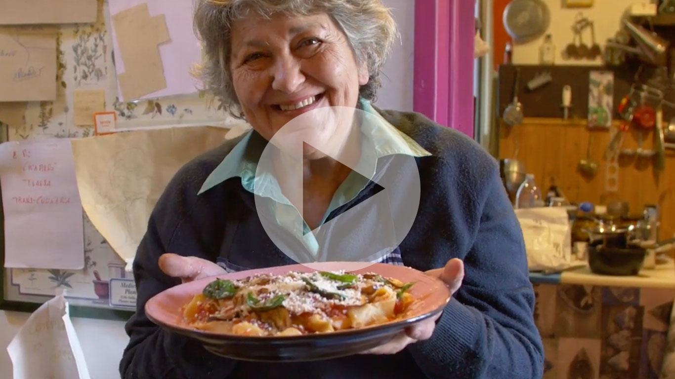 Pasta Grannies enjoys Graziella's pasta alla norma from Sicily