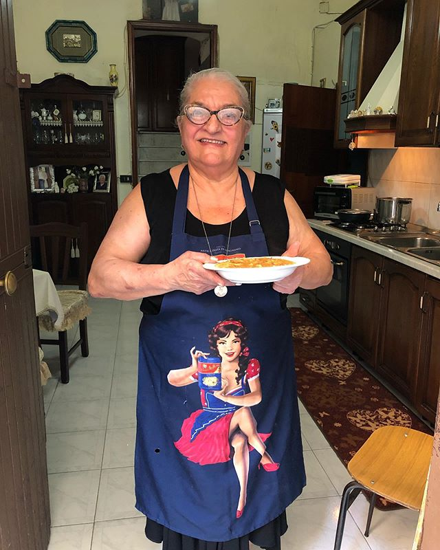 This is Rafaella, with her finished dish of pasta, potato, and provola cheese. It's typical of Naples and double carb heaven.  PS this is my second attempt at posting this photo so you may be seeing this twice? #pastagrannies