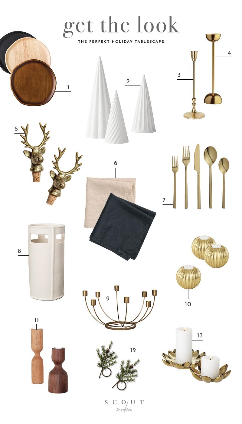 1.  Wooden Plates  | 2.  Decorative Trees  | 3.  Brass Candlestick  | 4.  Brass Candlestick  | 5.  Wine Bottle Cork  | 6.  Linen Napkins  | 7.  Flatware  | 8.  Vase  | 9.  Candelabra  | 10.  Candleholder  | 11.  Wooden Candlesticks  | 12.  Greenery Napkin Rings  | 13.  Flower Candle Holder