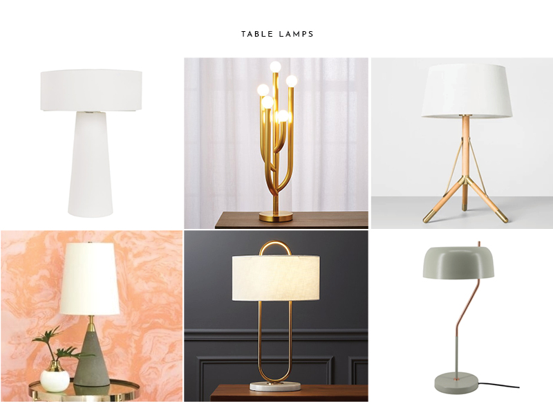 1.  Surya Bradley Lamp  | 2.  Cacti Glow Lamp  | 3. Table Lamp (Magnolia)  | 4.  Bente Table Lamp  | 5.  Warner Table Lamp  | 6.  Inoa Table Lamp