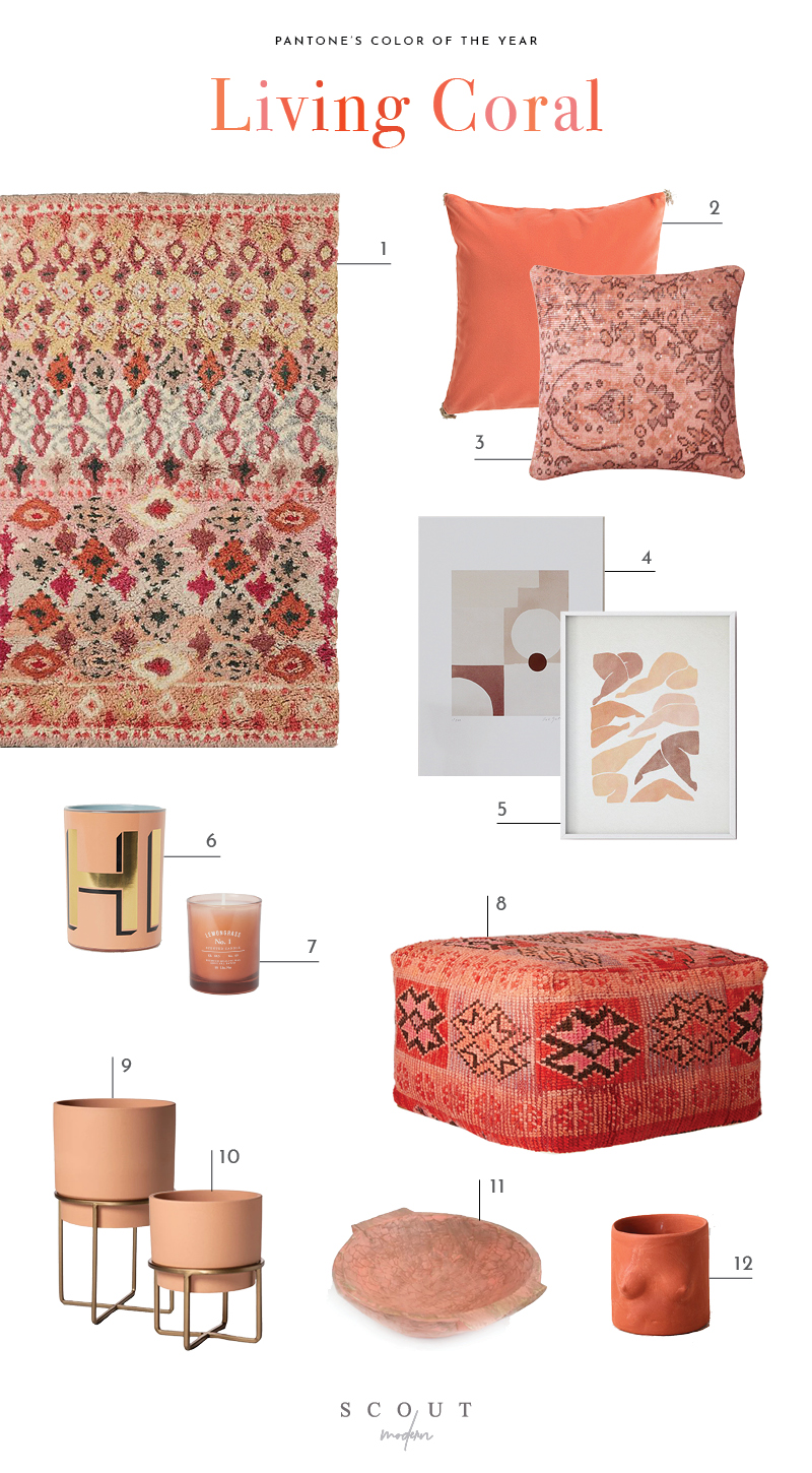 "1.  Rug  | 2.  Velvet Pillow  | 3.  Kilim Pillow  | 4.  Oak Gallery Print  | 5.  Digital Thigh Print  | 6.  ""Hi"" Candle  