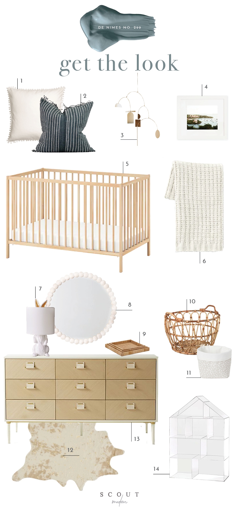 1.  Pom Pom Pillow  | 2.  Striped Pillow  | 3.  Brass Mobile  | 4.  St. John Print  | 5.  Crib  | 6.  Chenile Throw Blanket  | 7.  Rabbit Table Lamp  | 8.  Wood Ball Mirror  | 9.  Set of Woven Trays  | 10.  Basket  | 11.  Fabric Basket  | 12.  Faux Hide Rug  | 13.  Nine Drawer Dresser  | 14.  Acrylic House Book Shelf