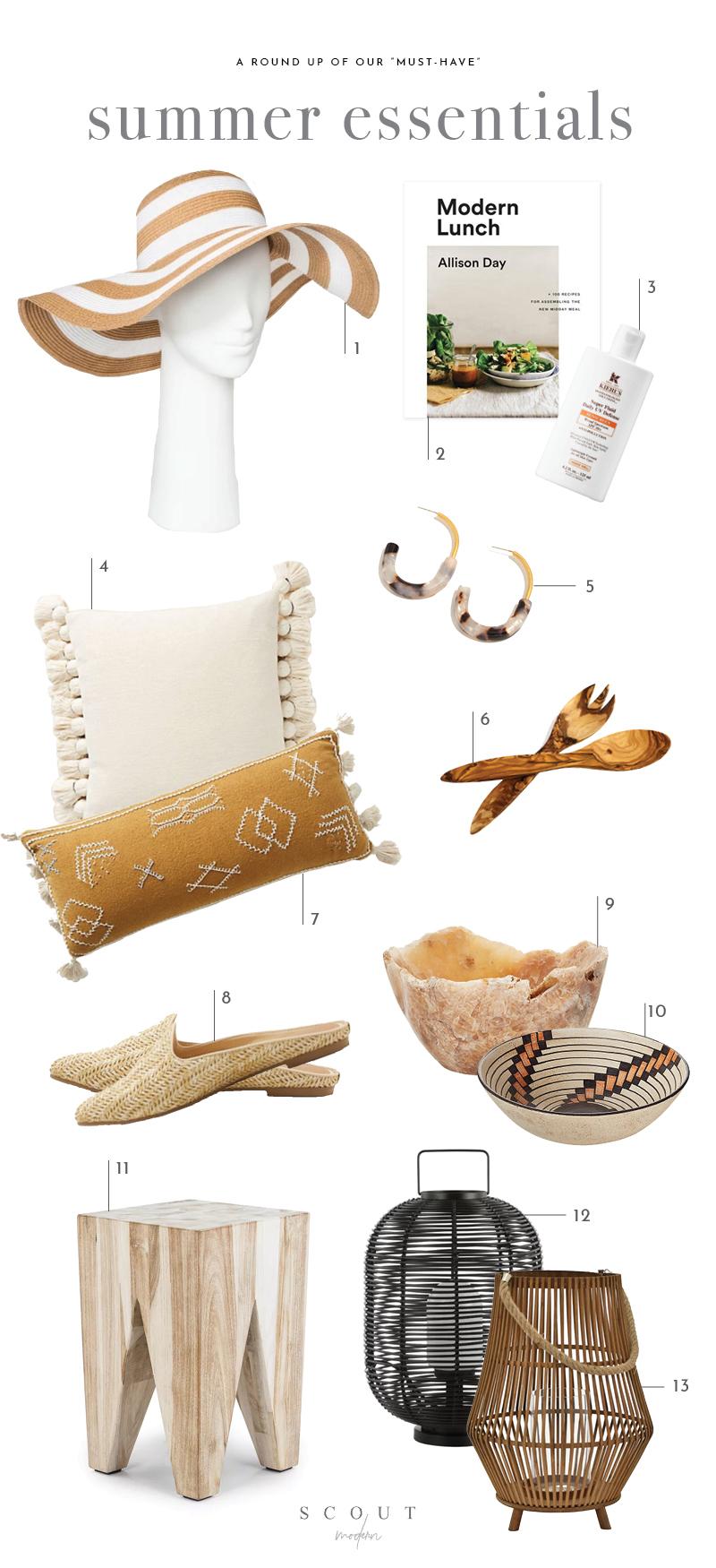 1.  Floppy Hat  | 2.  Modern Lunch  | 3.  Sunscreen  | 4.  Cream Tassel Pillow  | 5.  Tortoiseshell Earrings  | 6.  Salad Servers  | 7.  Mustard Embroidered Pillow  | 8.  Woven Mules  | 9.  Onyx Serving Bowl  | 10.  Porta Ceramic Serving Bowl  | 11.  Tana Stool  | 12.  Black Lantern  | 13.  Natural Lantern