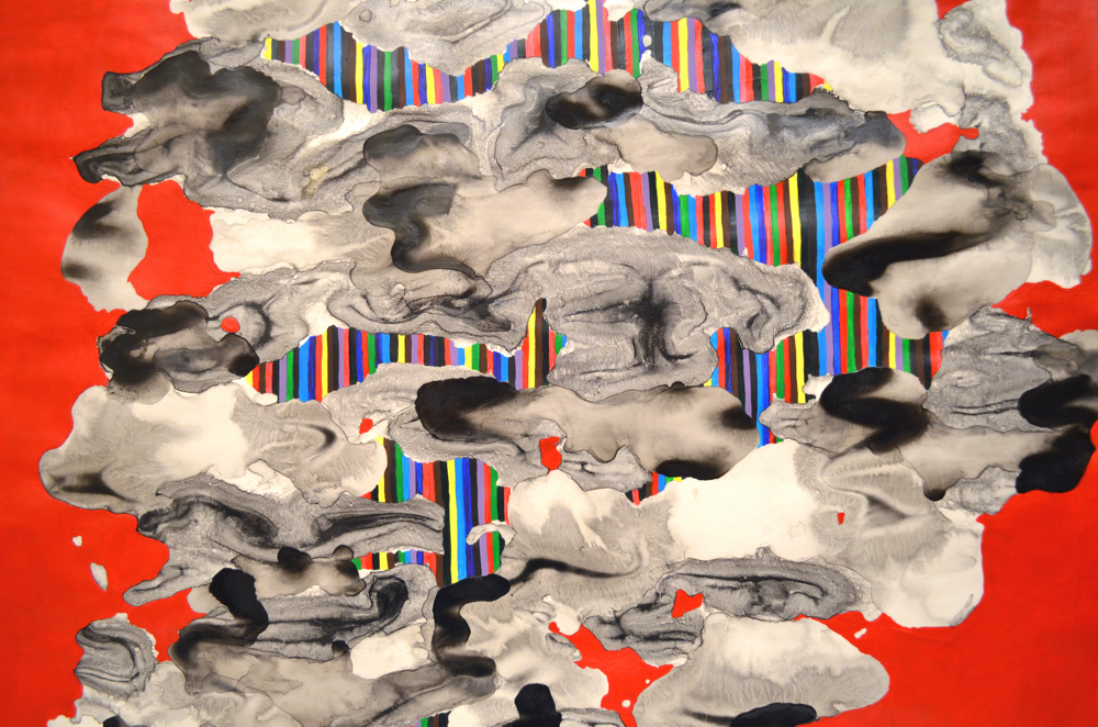 Cadmium Drift 2015 acrylic, chinese ink on paper 25x25 available