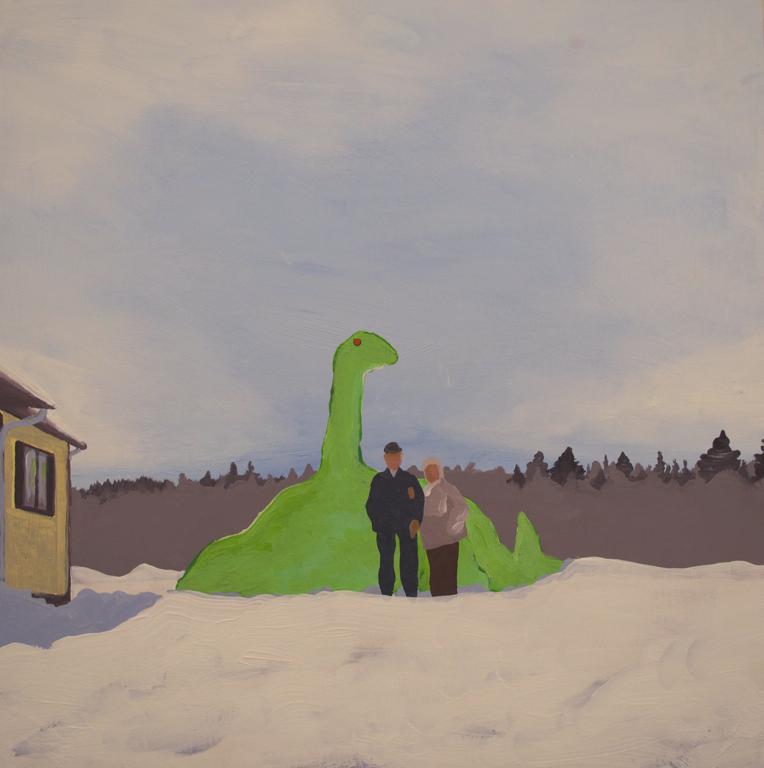 Dinosaur 2013 acrylic on panel 16x16