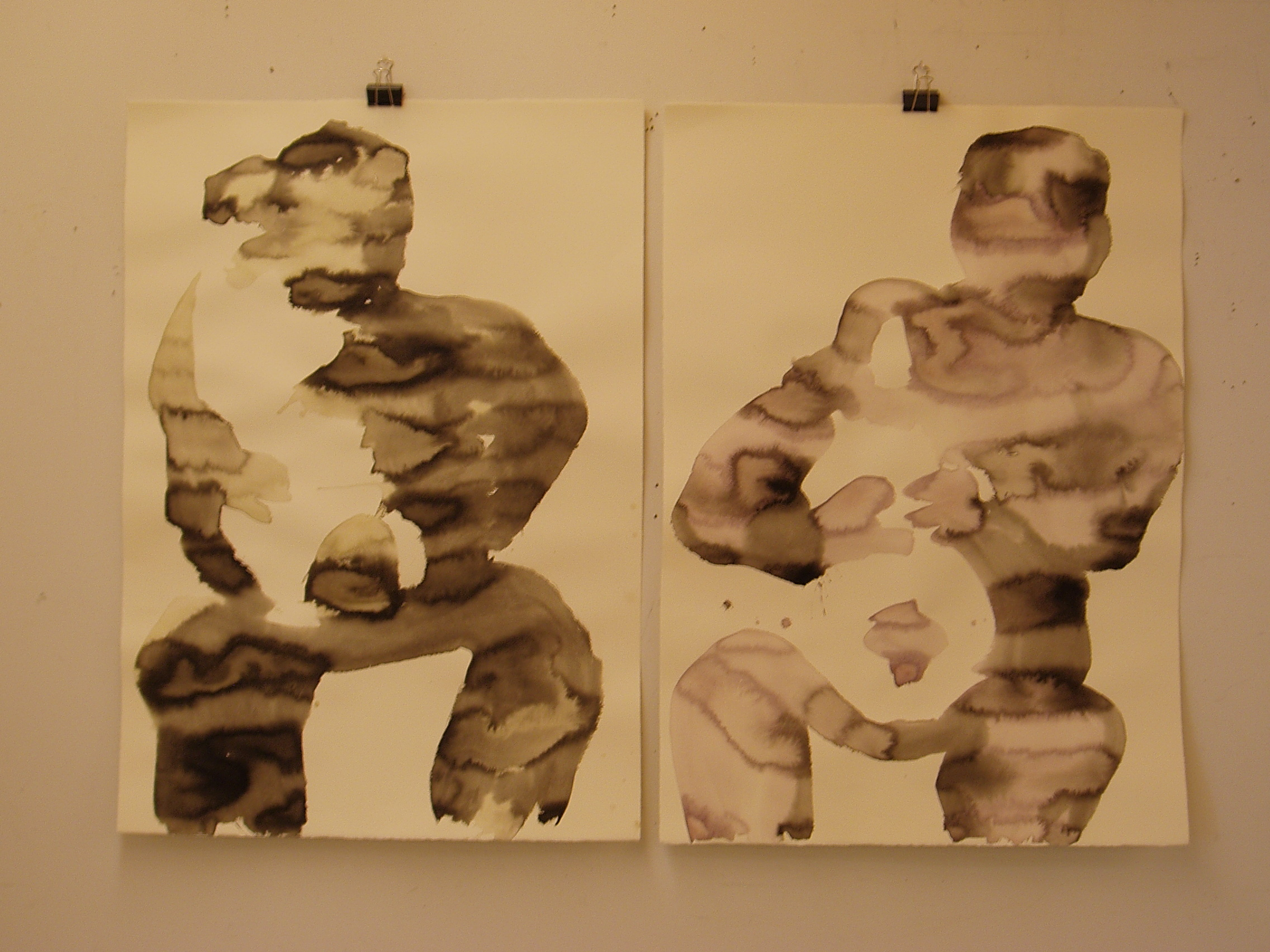 Hold that man I love so much 2009 ink on paper diptych. Each 26x38