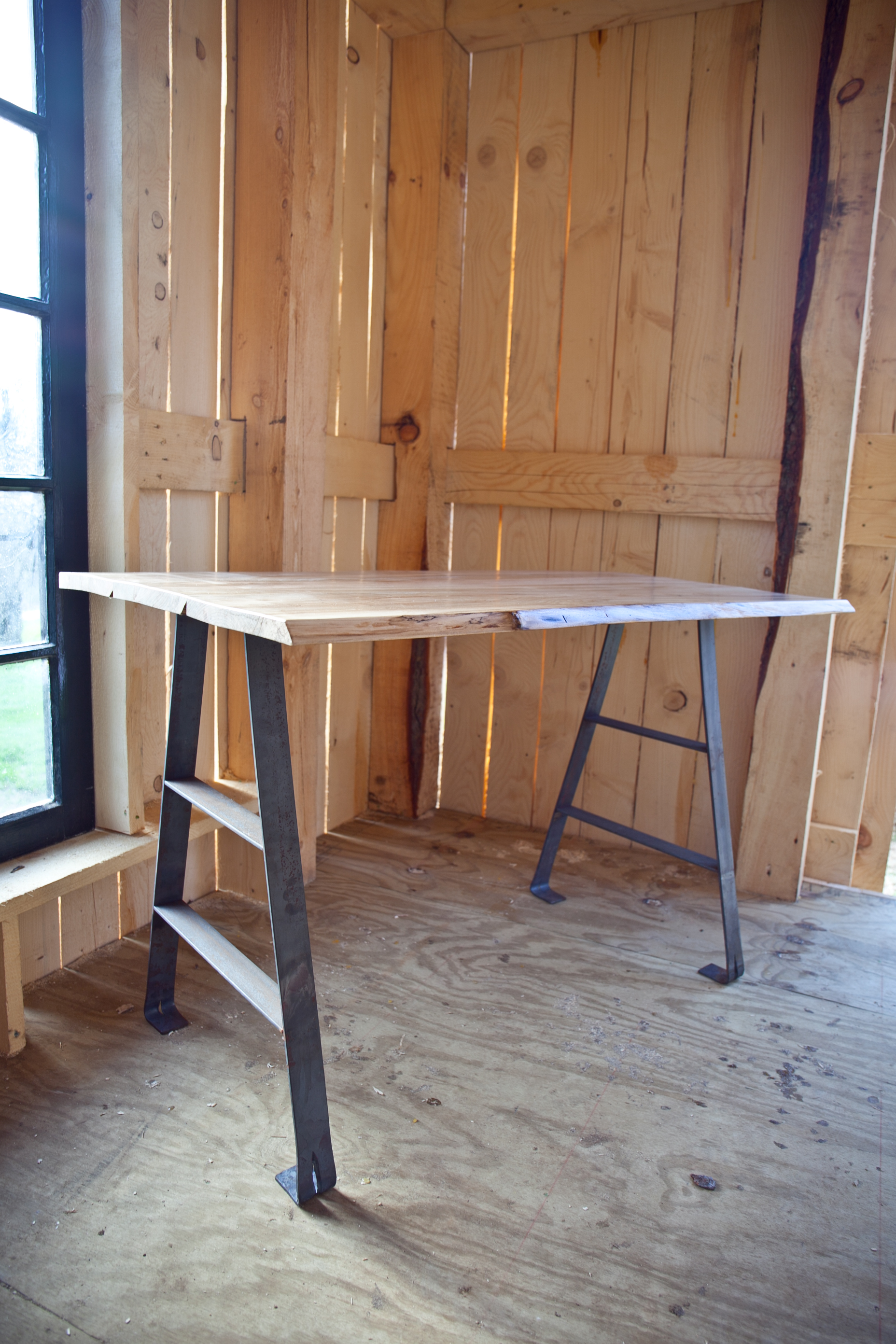 Maple Desk with Forged Iron Legs -
