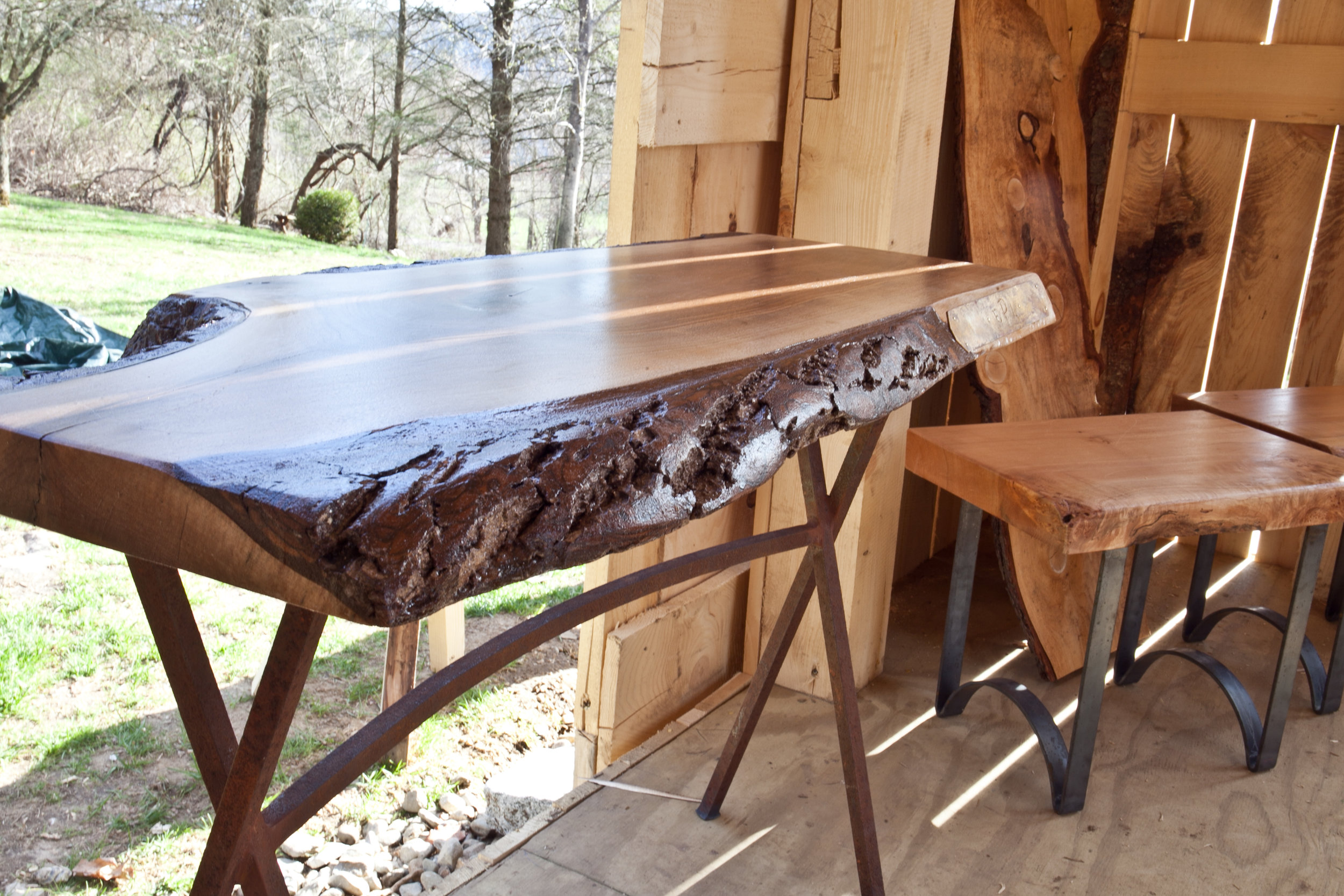 Walnut Desk with Forged Legs and Brass Plate