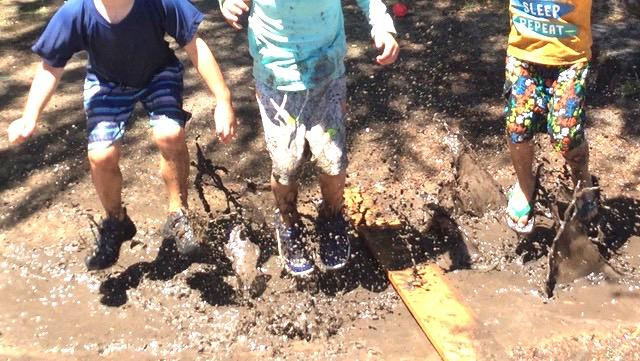 Sensory fun in the mud at the RVNS Summer School Preschool Program