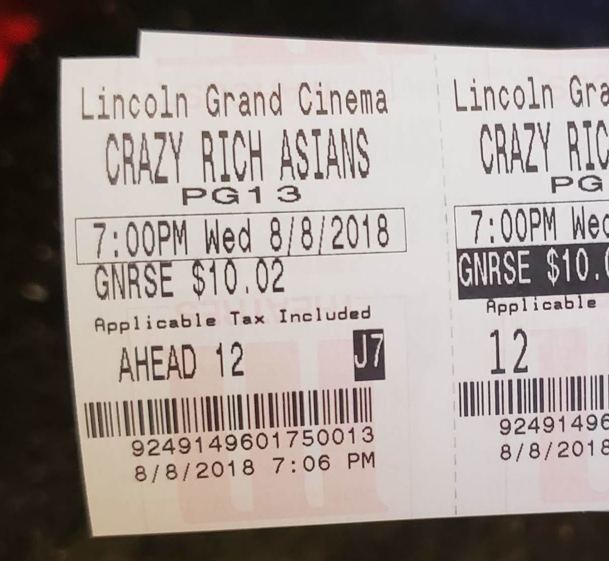 My ticket for the advanced screening of  Crazy Rich Asians.