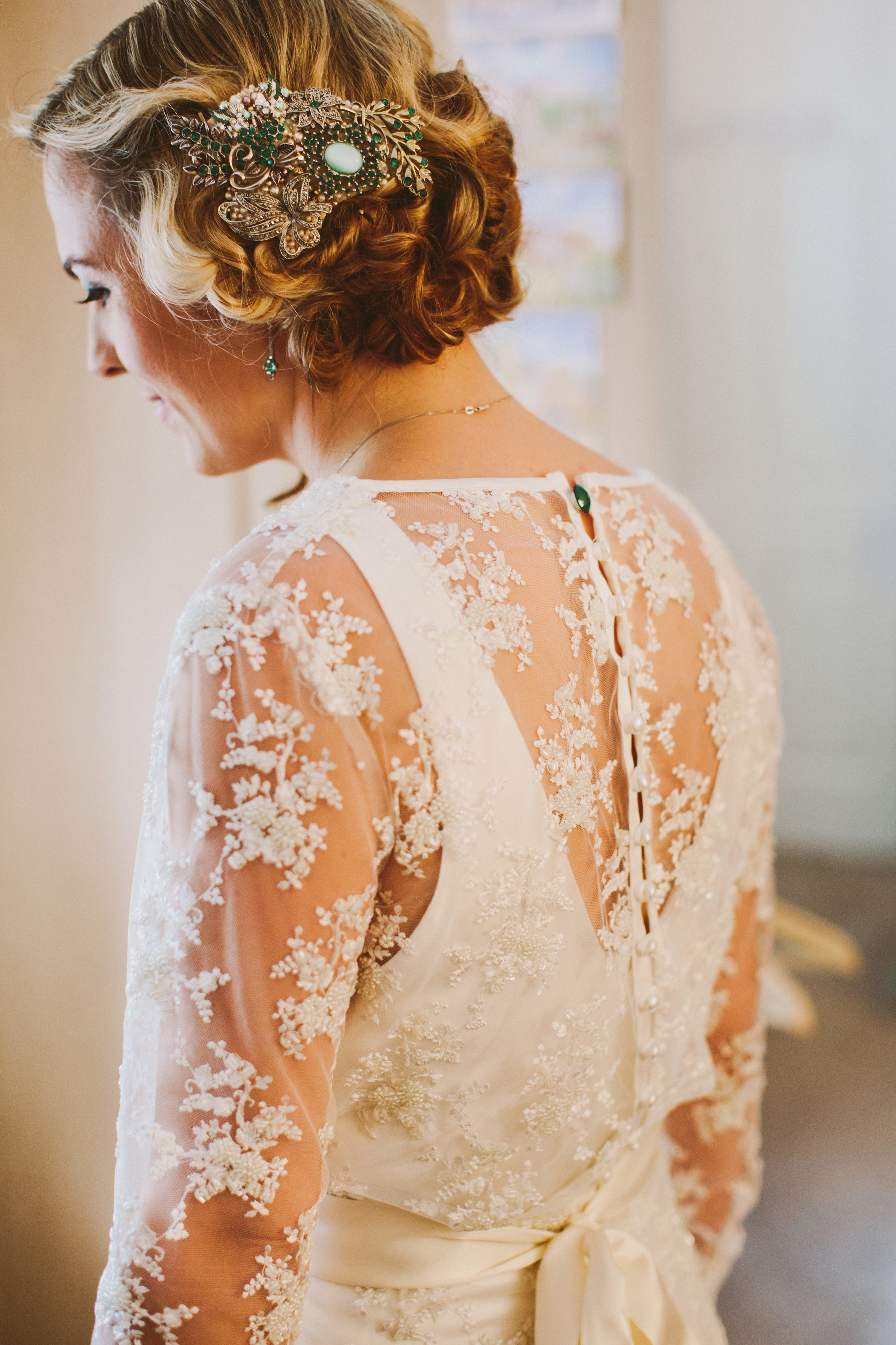 Jo-Peak-District-Autumn-Wedding-Bespoke-Vintage-Bias-Wedding-Gown-Lace-Jacket-Susanna-Greening-Matlock-10